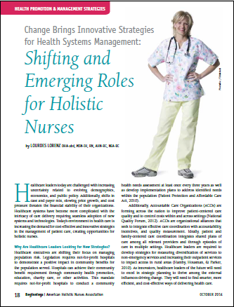 Emerging Roles of Holistic Nurses